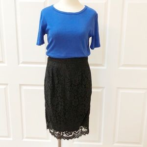 J.Crew black lace midi pencil skirt 0